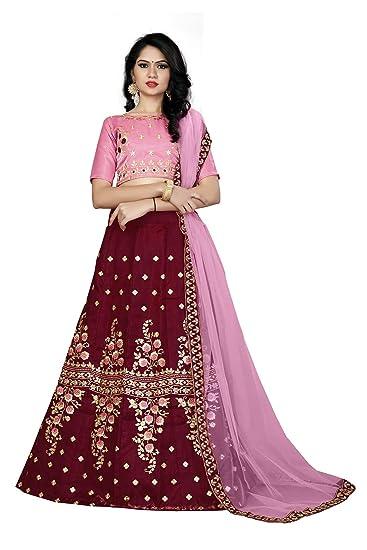 6b01f1de6e R N Creation Surat Taffeta Silk Embroidered Lehenga Choli with Blouse Piece  (Pink,Free Size