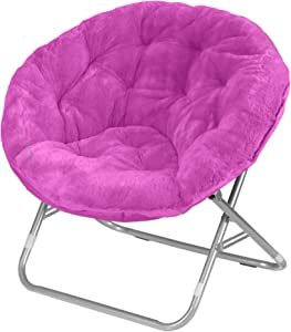 Urban Shop Faux Fur Saucer Chair, Pink