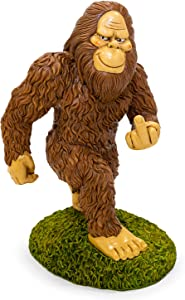KwirkWorks Garden Gnome - Sasquatch Bigfoot Middle Finger Lawn Statue Figurine - 11 inches Tall