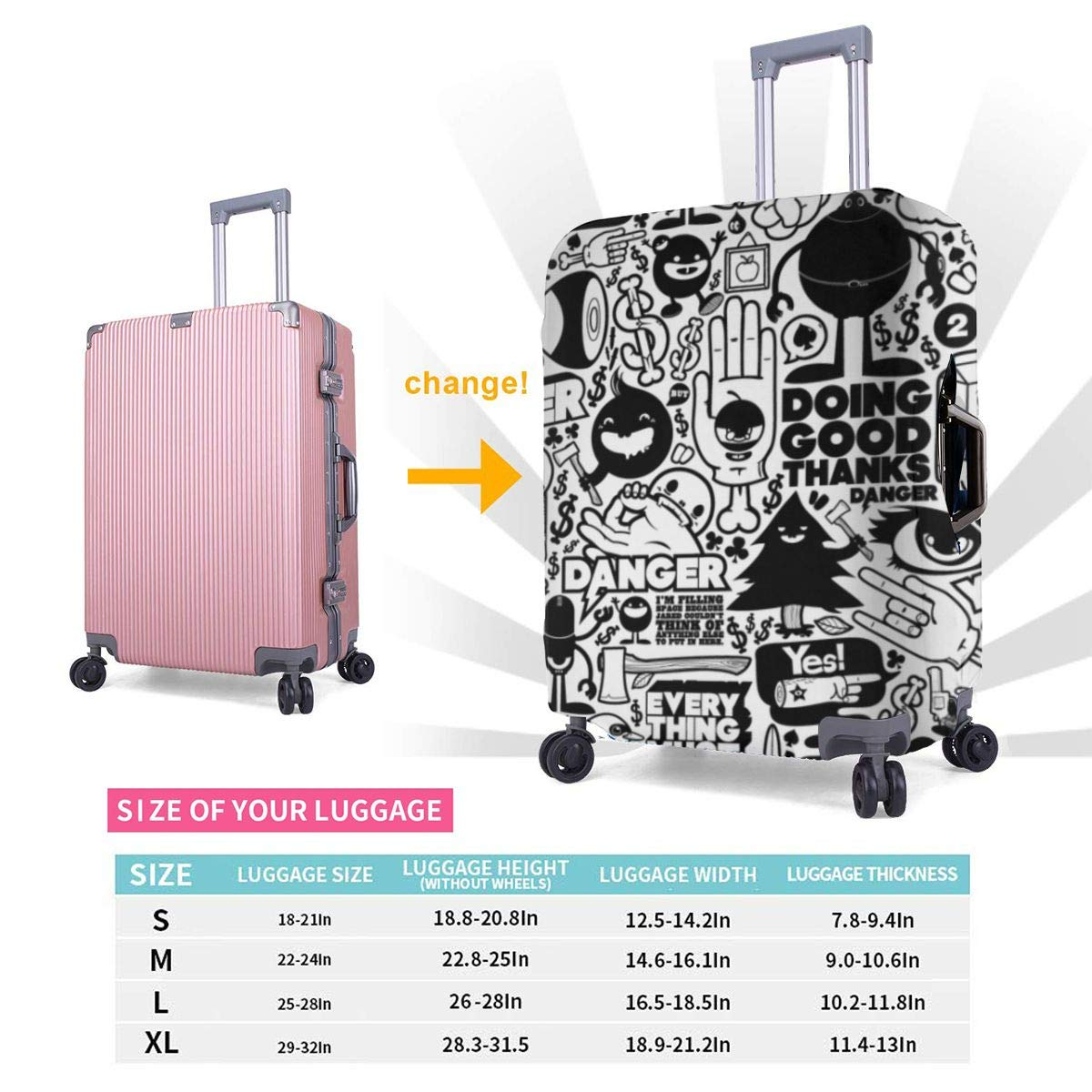 Travel Luggage Cover Suitcase Protector Fits for 18-32 Inch Luggage Blood Sweat XL