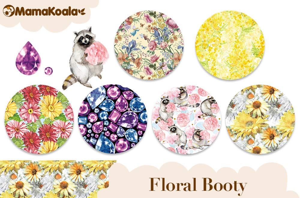 Floral Booty Mama Koala One Size Baby Washable Reusable Pocket Cloth Diapers 6 Pack with 6 One Size Microfiber Inserts