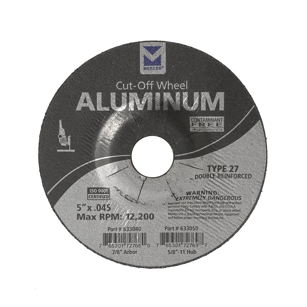 Mercer Industries 633040 Type 27 Cut-Off Wheel for Aluminum and other Non-Ferrous Metals, 5'' x .045 x 7/8'', 25 Pack