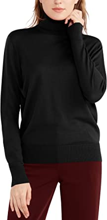 Jersey Cuello Alto Mujer Lana Suéteres Manga Larga Camisa Ligera Jersey de Punto Camisetas Rebeca Otoño Invierno
