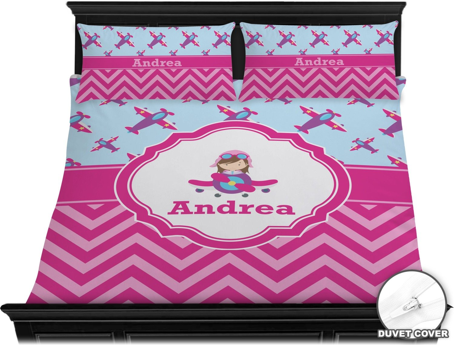Airplane Theme - for Girls Duvet Cover Set - King (Personalized) by RNK Shops