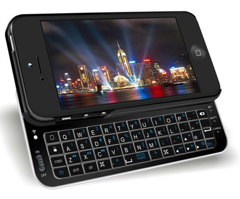 Nuevo Apple iPhone 5 (todos los modelos 2012) negro funda rígida de extraíble con retroiluminación (QWERTY) con teclado Bluetooth integrado: Amazon.es: ...