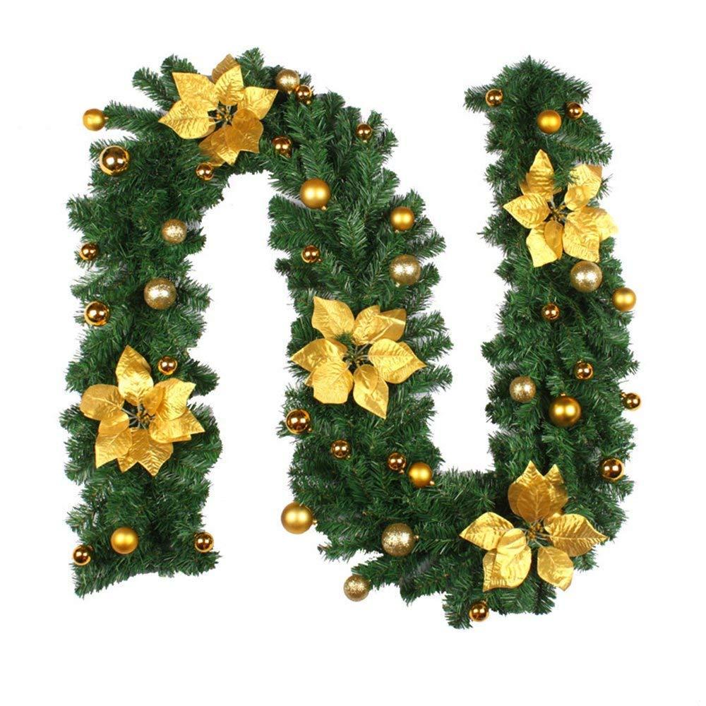 ZZM Guirlande de No/ël D/écoration avec Voyant Blanc Chaud pour Les escaliers Arbre de No/ël Festive Chemin/ée Artificielle Couronne avec Fleur et n/œud
