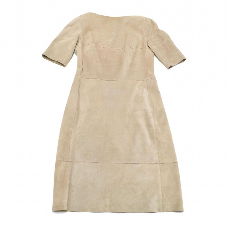 ロエベ LOEWE カーフ レザー ワンピース ドレス 半袖 40 ピンクグレー レディース 女性 中古 B07DZCGVYM  -