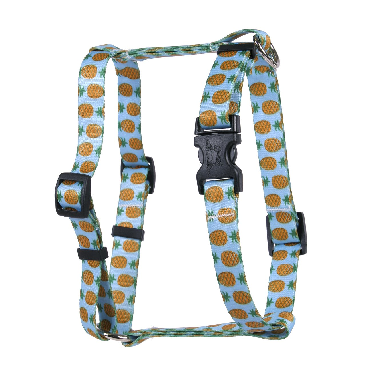 Yellow Dog Design Pineapples Blue Roman H Dog Harness, Small/Medium-3/4 Wide fits Chest of 14 to 20''
