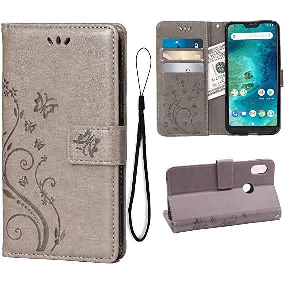 enorme sconto a454c 54281 Teebo Wallet Case for Xiaomi Mi A2 Lite/Redmi 6 Pro, 3 Card Holder Embossed  Butterfly Flower PU Leather Magnetic Flip Cover for Xiaomi Mi A2 ...