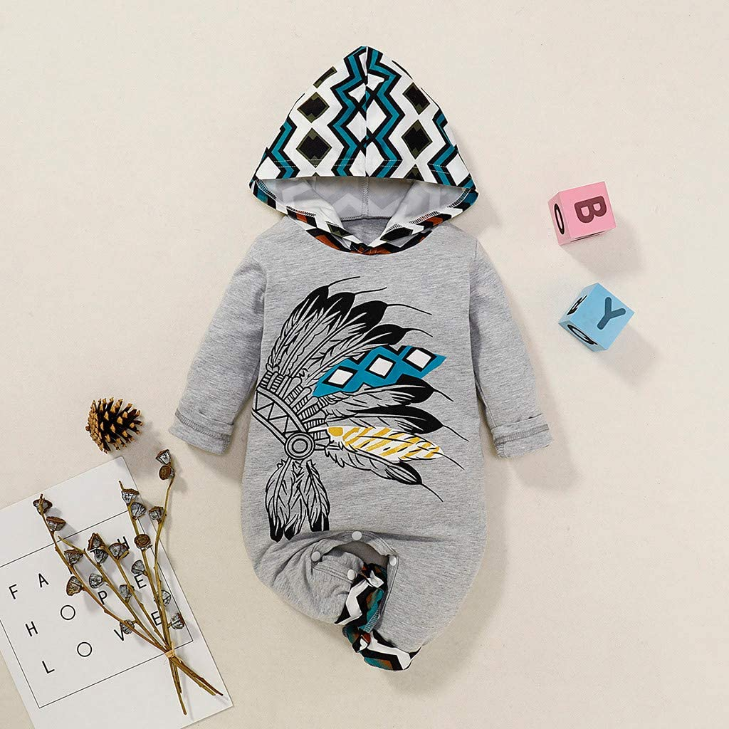 huijdew 0-24 Months Baby Romper Infant Girls Boys Stripe African Style Print Hooded Romper Jumpsuit Outfits