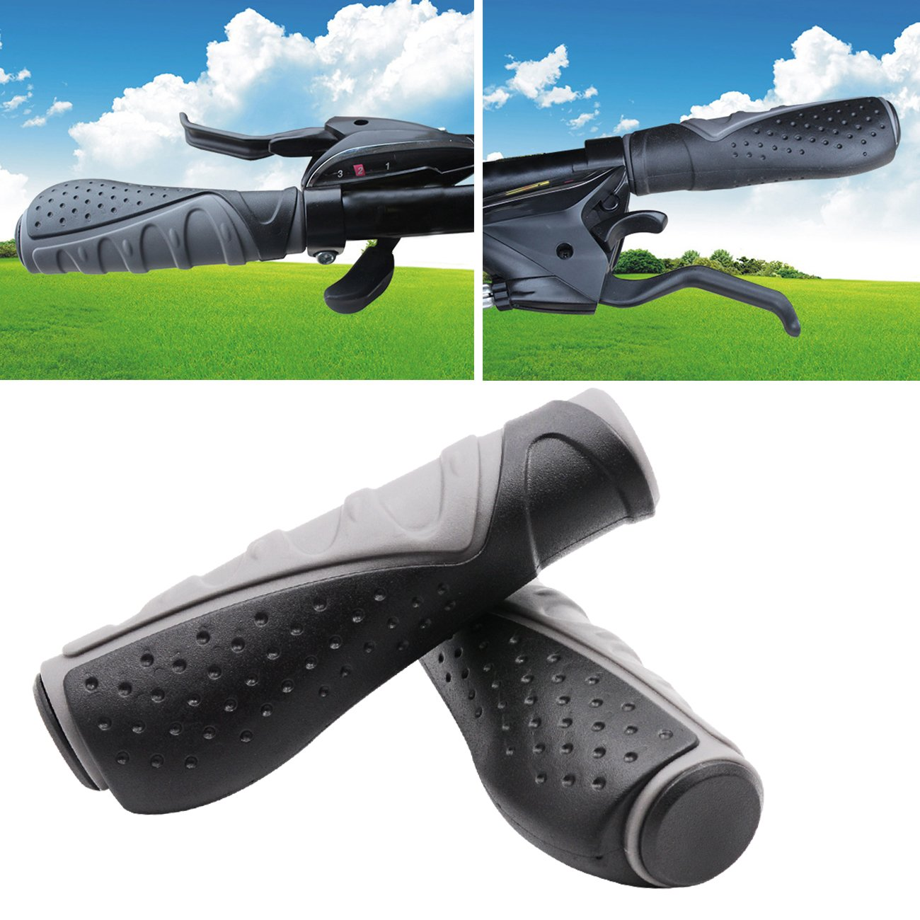 TRELC Antislip Bicycle Handlebar Grips Protector For Bicycle/ Mountain Bike/ Road Bike/ Folding Bike (Black+Grey) by TRELC (Image #5)