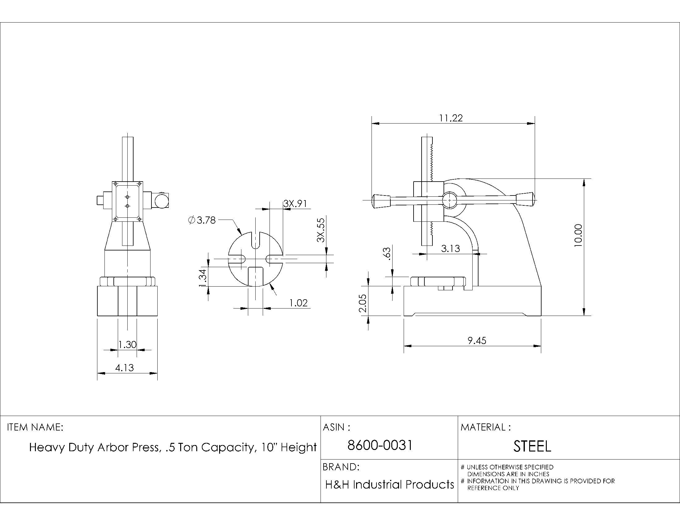 HHIP 8600-0031 Heavy Duty Arbor Press.5 Ton Capacity, 10'' Height (Pack of 1)