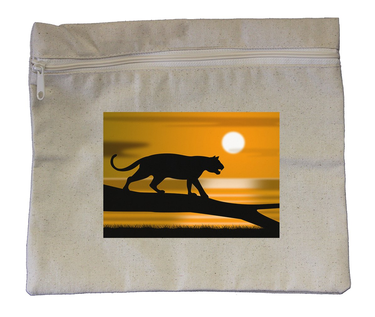 Canvas Zipper Pouch Tote Bag 10''X12'' Tiger Tree Represents Wildlife Animals