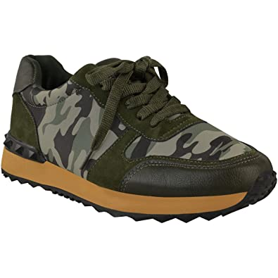72a26a4db Fashion Thirsty Womens Sport Shoes Trainers Spike Lace Up Fitness Sneaker  Camo Size 5