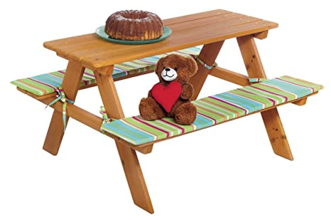 Kinder Sitzgarnitur Garten Drinnen /& Draußen Echtholz Polsterauflage Bank Tisch