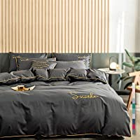 CHOUREN 100% Cotton Solid Color Fitted Bedsheet Set Embroidery Duvet Cover Single Queen King (Color : A, Size : 1.2m…