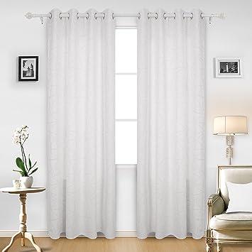 Deconovo Gardinen Fenster Vorhänge Ösen Vorhänge Deko 240x140 Cm Weiß 2er  Set