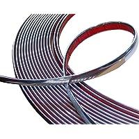 Aerzetix: 12 mm 4,5 m plakbandstroken chroom-nikkel-zilverkleur