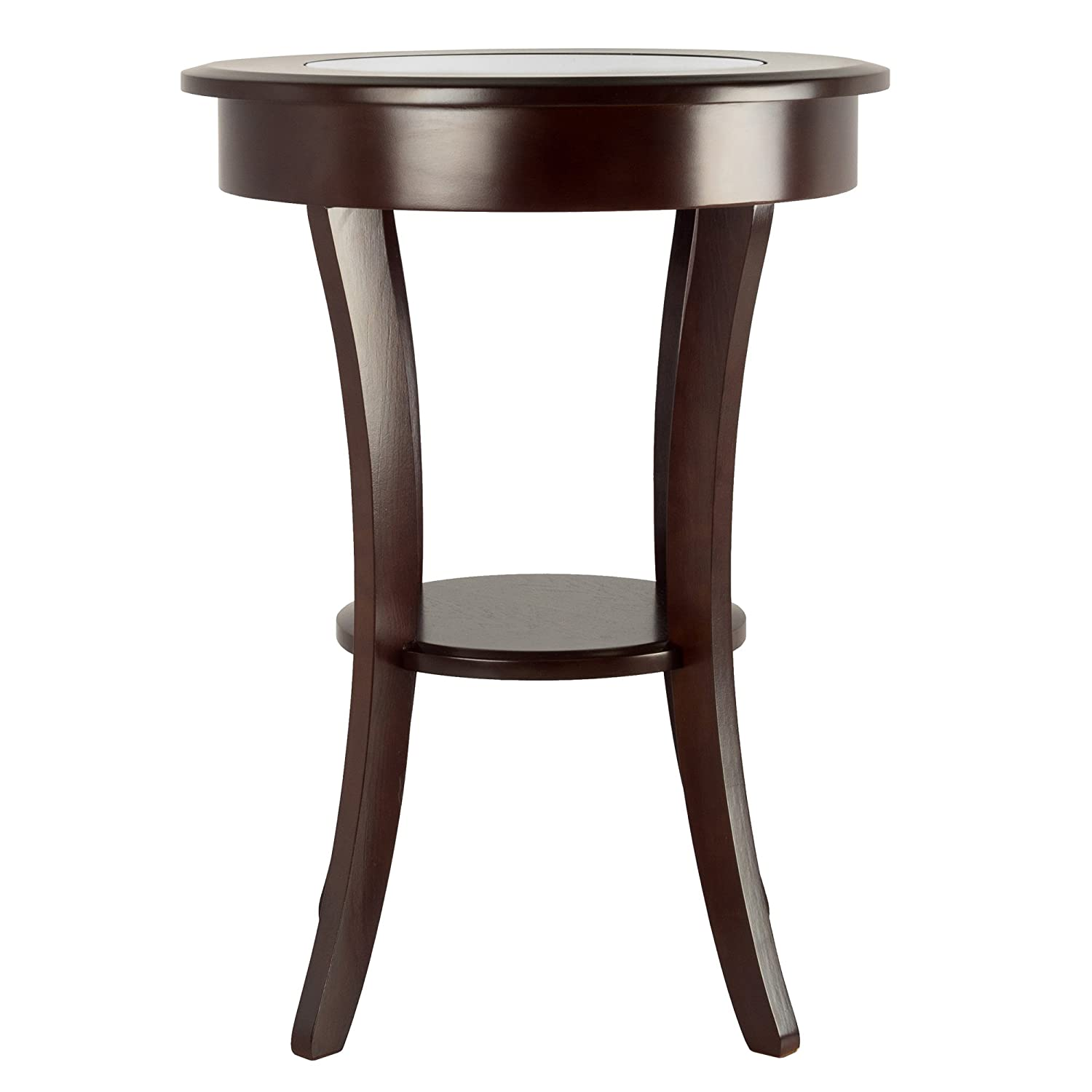 Winsome Wood Cassie Accent Table with Glass Top Cappuccino Finish