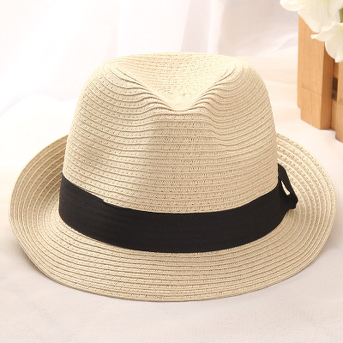 Sun Hat for Women Men's Jazz Panama Soft Cap Feedoras Summer Beach Tropical Hat by AOBRITON