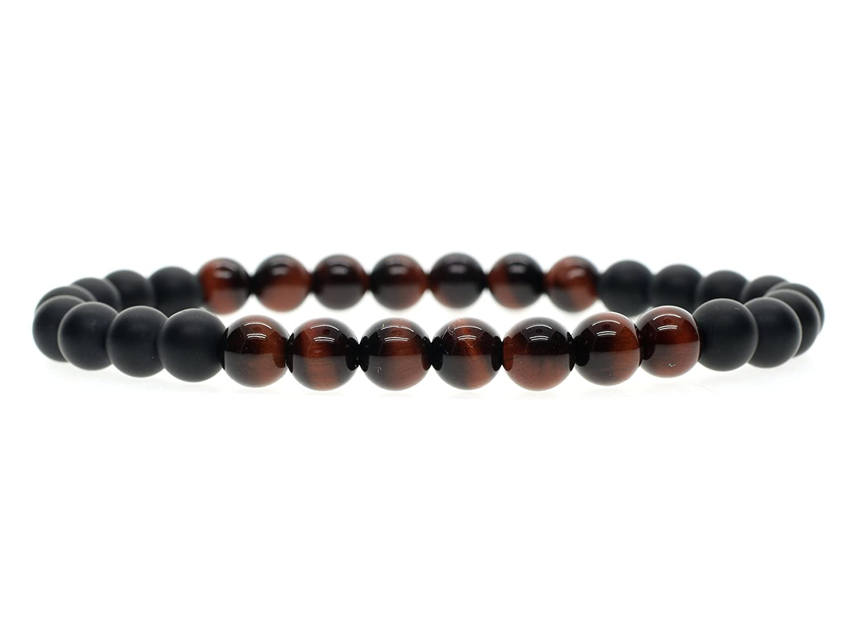 AmorWing Mens Womens Mala Beads Onyx Tiger Eye Stone Beaded Bracelet N375-2
