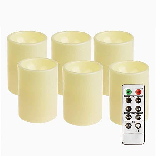 GiveU Flameless Realistic Led Candle With Remote Control, Battery Operated Flickering Candle With Timer For Indoor Outdoor Decoration,3x4inches,6 Pack