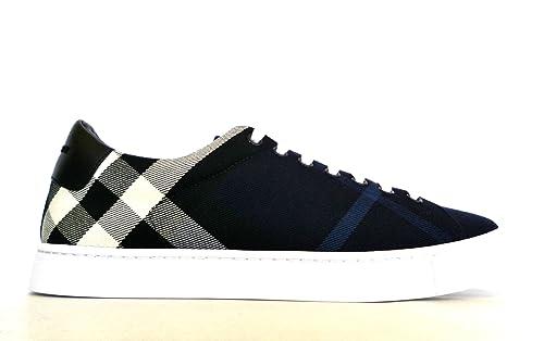 Burberry Sneakers Scarpe Uomo in Tessuto e Pelle Modello 4054042 Blu + Nero  (39 EU e13b9a4a187
