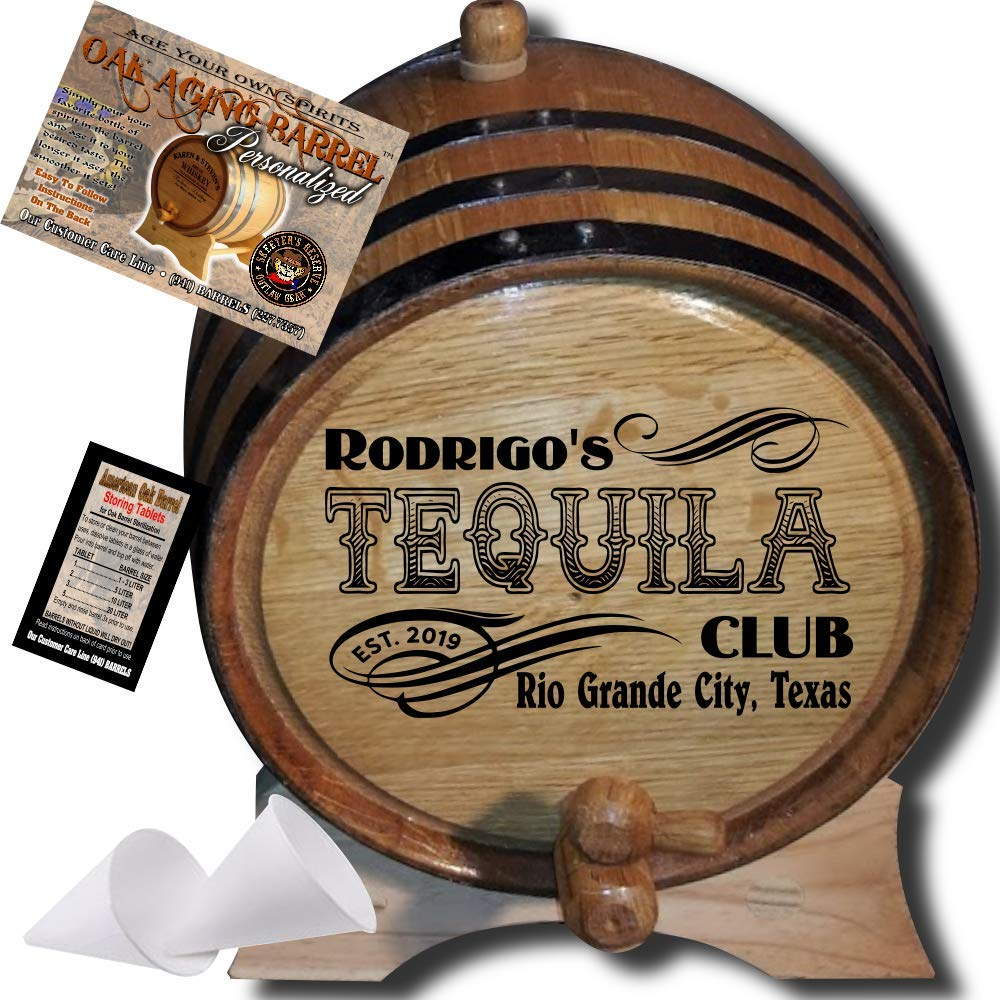 Personalized American Oak Tequila Aging Barrel (204) - Custom Engraved Barrel From Skeeter's Reserve Outlaw Gear - MADE BY American Oak Barrel - (Natural Oak, Black Hoops, 2 Liter)