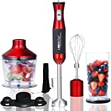 Immersion Blender LINKChef 4-in-1 Hand Blender Stick Powerful Low Noise Large 800ml Beaker, Stainless Steel Whisk and 500ml Food Chopper, BPA-Free&FDA, Red/Black(HB-1230)-3 Years Warranty (Red and black)