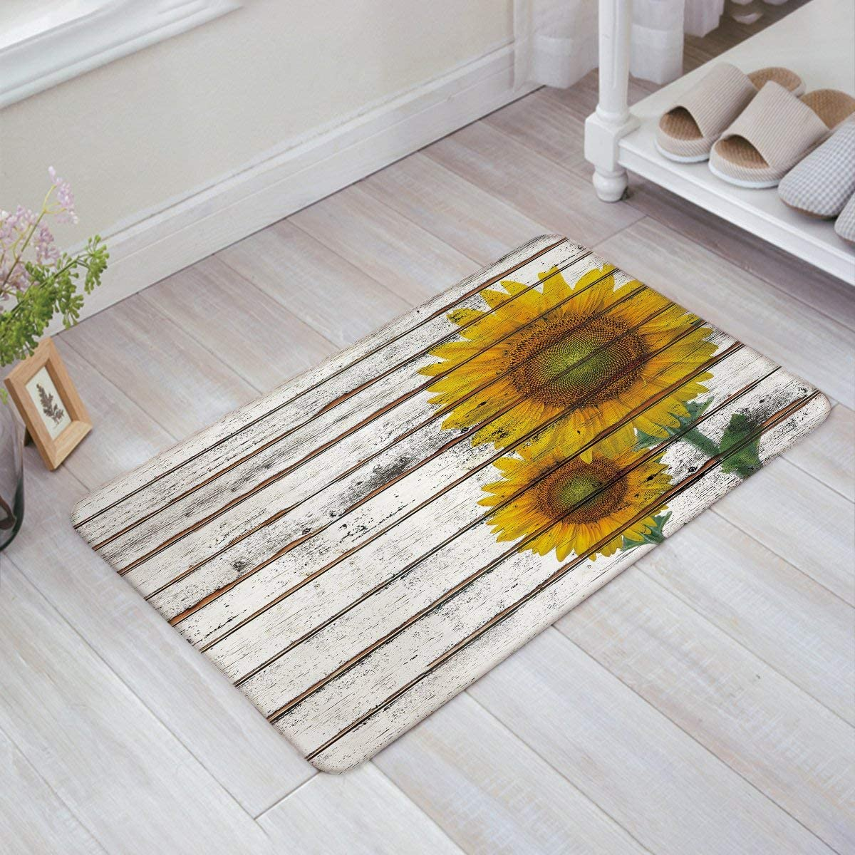 KAROLA Non-Skid Slip 20 x 32 Door Mat Sunflower on Wooden Board Modern Thin Low Pile Machine Washable Indoor Bathroom Kitchen Hallway Entry Rugs