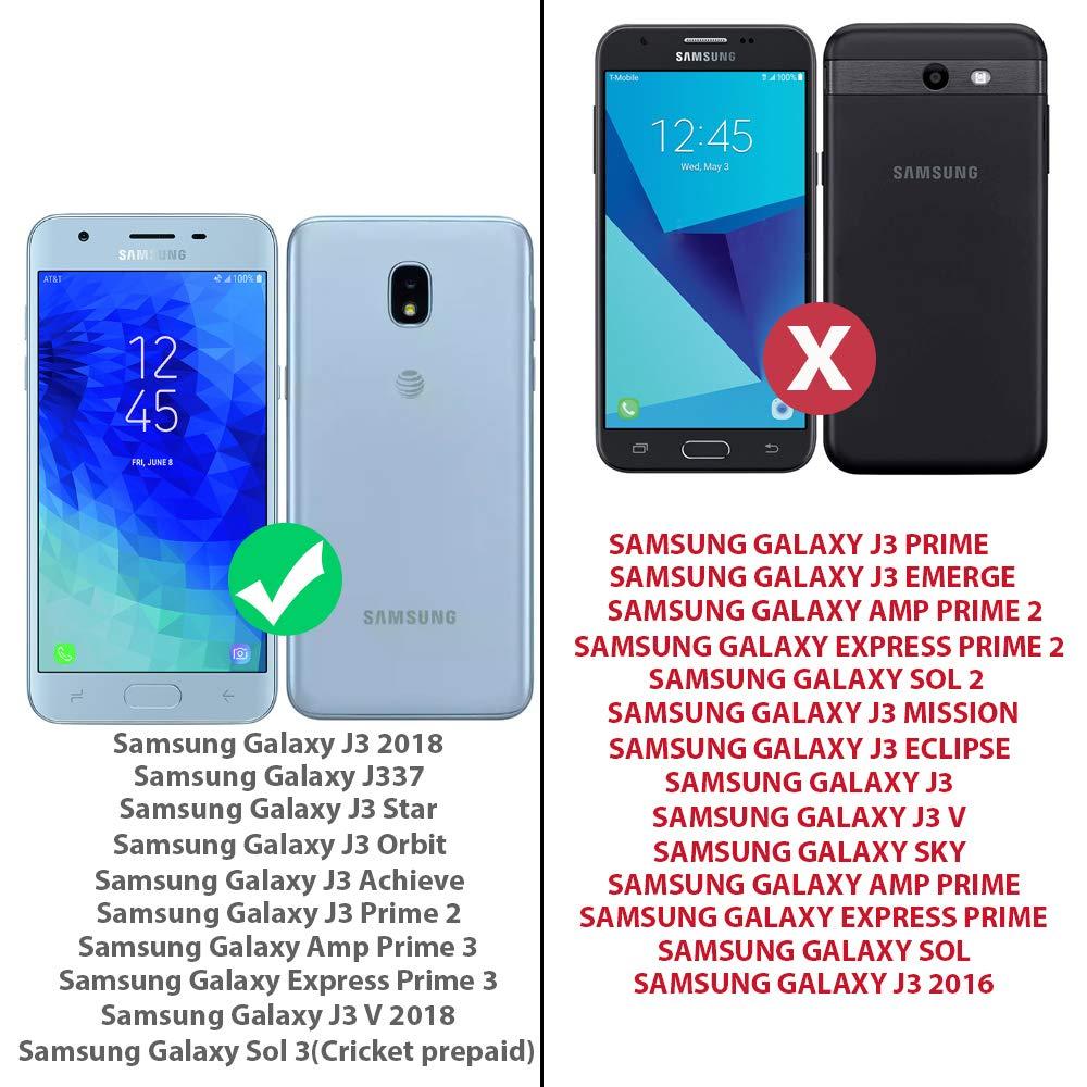 TJS Galaxy J3 2018/J3 V 2018/J337/Express Prime 3/J3 Star/J3 Orbit/J3  Achieve/J3 Prime 2/Amp Prime 3/Sol 3 Case, with [Full Coverage Tempered  Glass