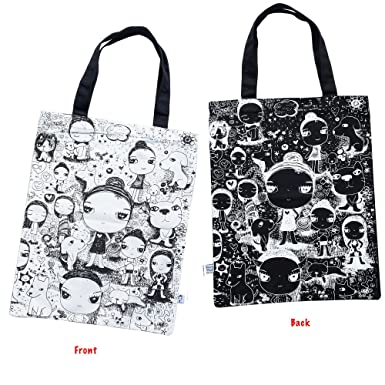 b05701d9f Image Unavailable. Image not available for. Color: I'm a Painter 100%  Cotton Canvas Tote Shopper Bag Black & White Girl
