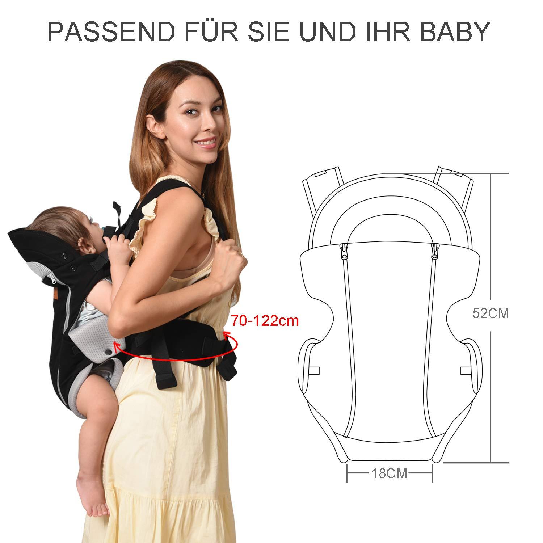 Porte B/éb/é dorsale physiologique respirants et confortables en toute saison Bable Porte-b/éb/é ergonomique ventral 3-en-1 portant b/éb/é /à lavant et /à larri/ère