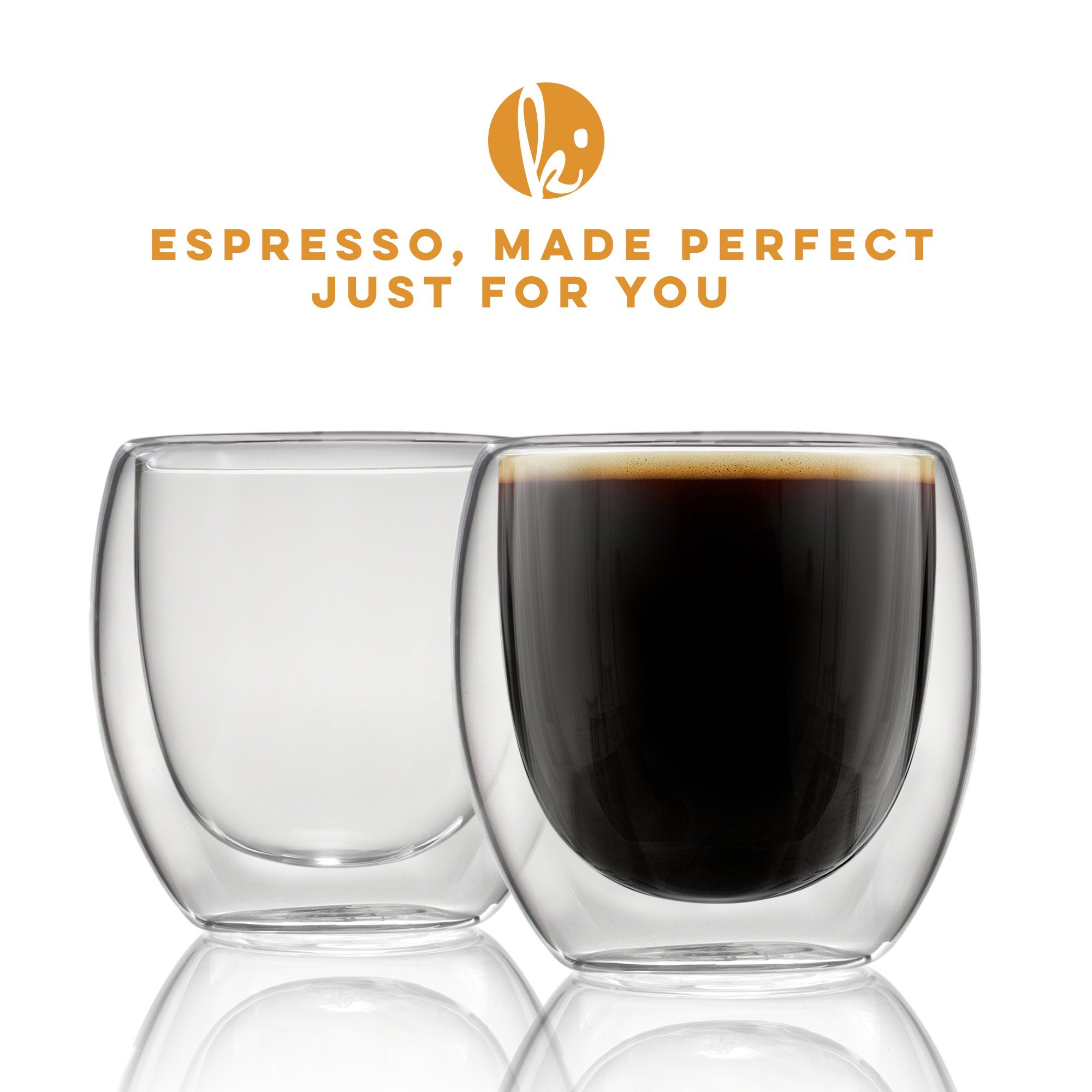 Espresso Cups Shot Glass Coffee Set of 4 - Double Wall Thermo Insulated by Kitchables (Image #2)