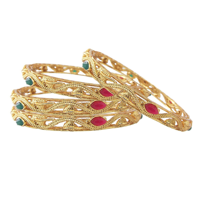 Biyu Ethnic Ruby Green Stone Gold Plated Leaf Design 4pc Bangles Womens//Girls