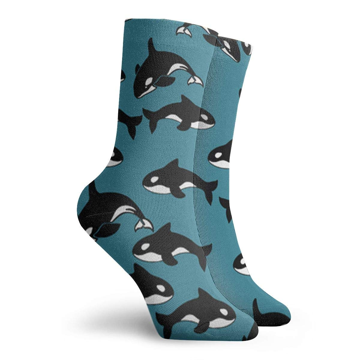 Whales Pattern Blue Background Unisex Funny Casual Crew Socks Athletic Socks For Boys Girls Kids Teenagers
