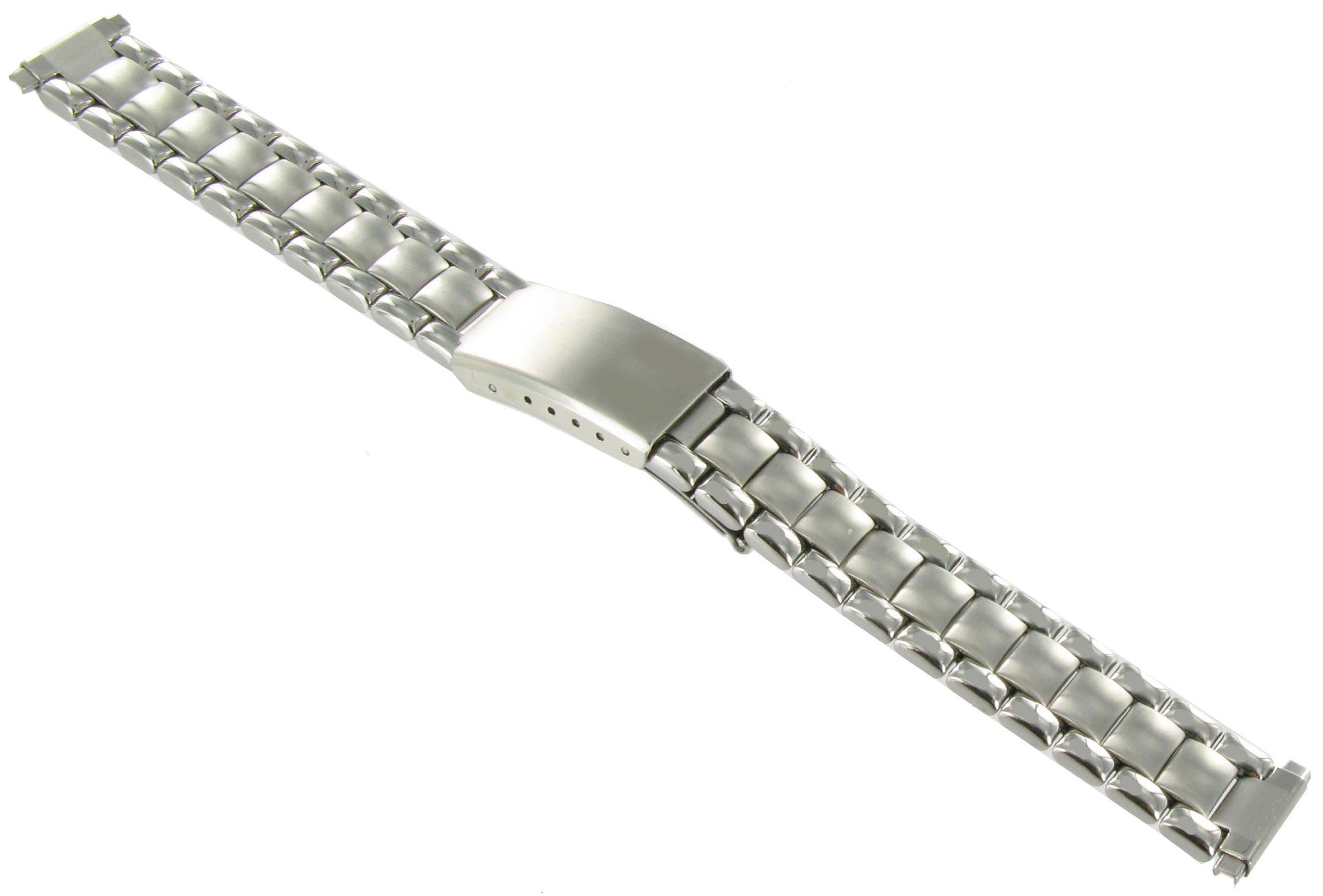 12-16mm Speidel Silver Tone Adjustable Semi-Solid Link Deployment Buckle Watch Band 1829/00