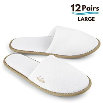 BERGMAN KELLY Spa Slippers, Closed Toe (White, Cocoa Trim, 12 Pairs Size