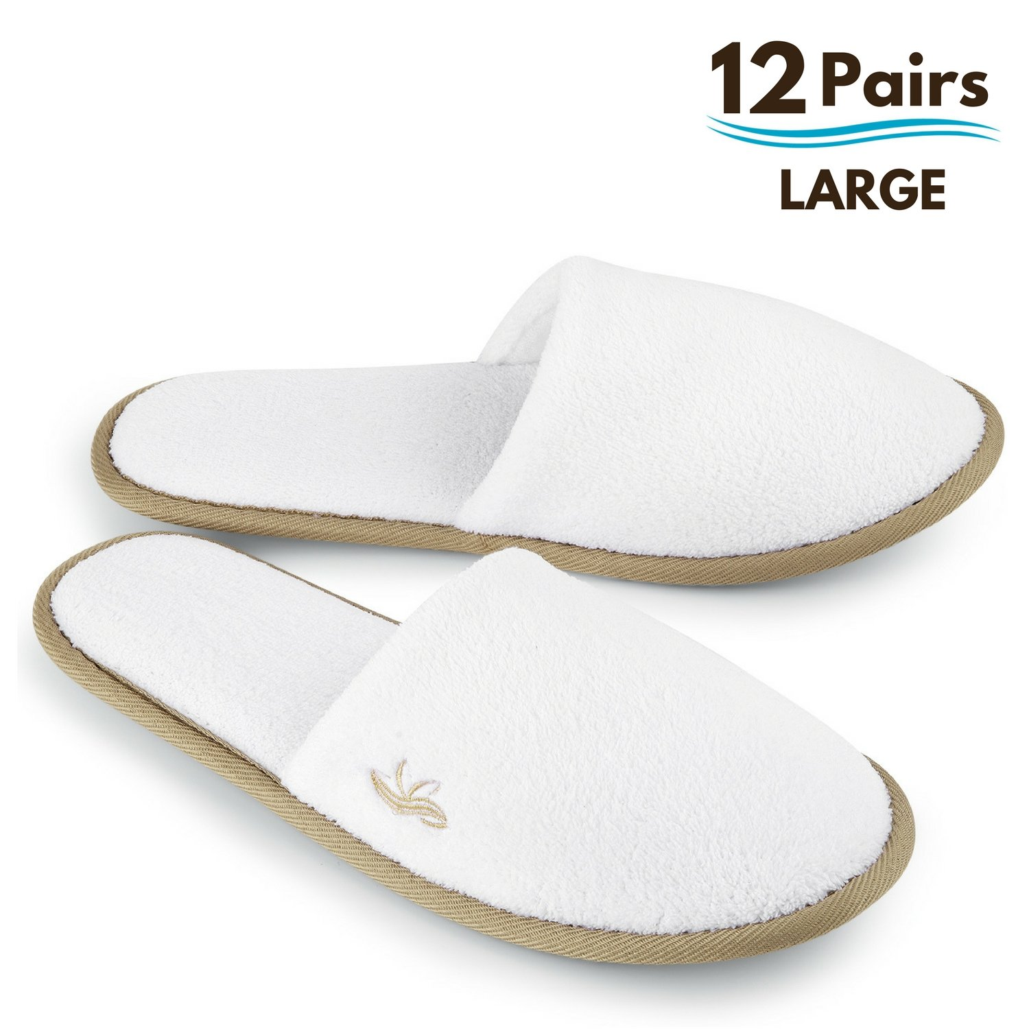 BERGMAN KELLY Spa Slippers, Closed Toe (White, Cocoa Trim, 12 Pairs Size Large) Disposable Indoor Hotel Slippers for Men and Women, Fluffy Coral Fleece, Deluxe Padded Sole for Extra Comfort