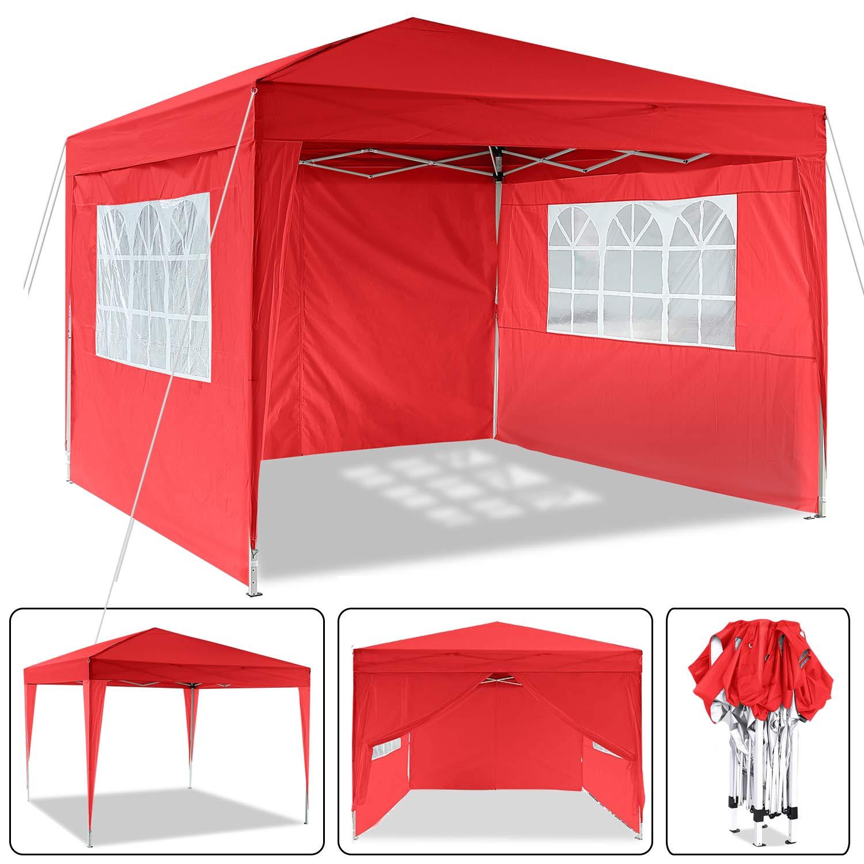 3 x 3 m Cenador, Impermeable Pop Up Cenador para Patio con Paneles Laterales y Bolsa de Almacenamiento para la Boda al Aire Libre Fiesta en el jardín (Rojo-3 x 3 m):