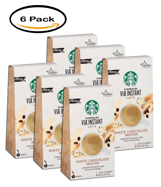 PACK OF 6 - Starbucks VIA White Chocolate Mocha Instant Latte 5 ct Box by Starbucks