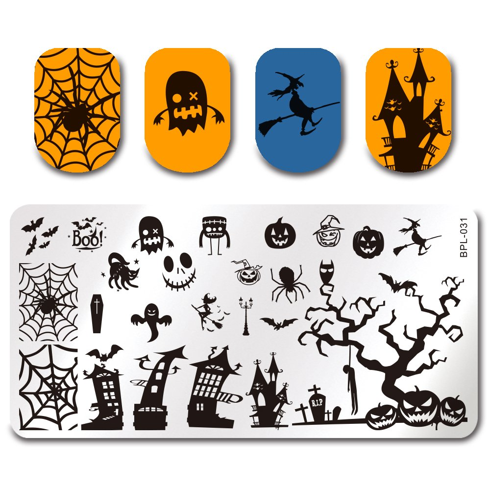 Born Pretty Nail Art Stamping Plates Halloween Theme Template Image Plate BP-L031