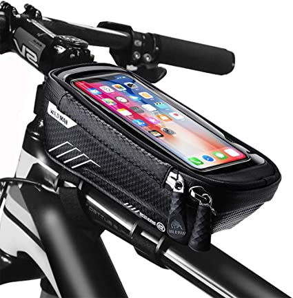 Amazon Com Jhvw Bike Frame Bag Waterproof Bike Accessories With Touch Screen Case Large Capacity Bike Phone Bag With Sun Visor For Iphone Samsung And Android Phones Under 6 5 Sports Outdoors