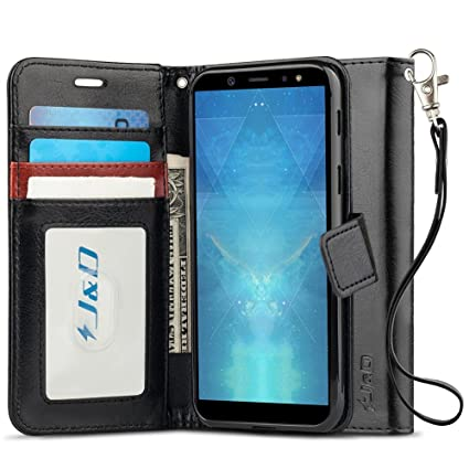 cheap for discount 67332 858ea J&D Case Compatible for Galaxy A6 Plus 2018 Case, [Wallet Stand] [Slim Fit]  Heavy Duty Protective Shock Resistant Flip Cover Wallet Case for Samsung ...