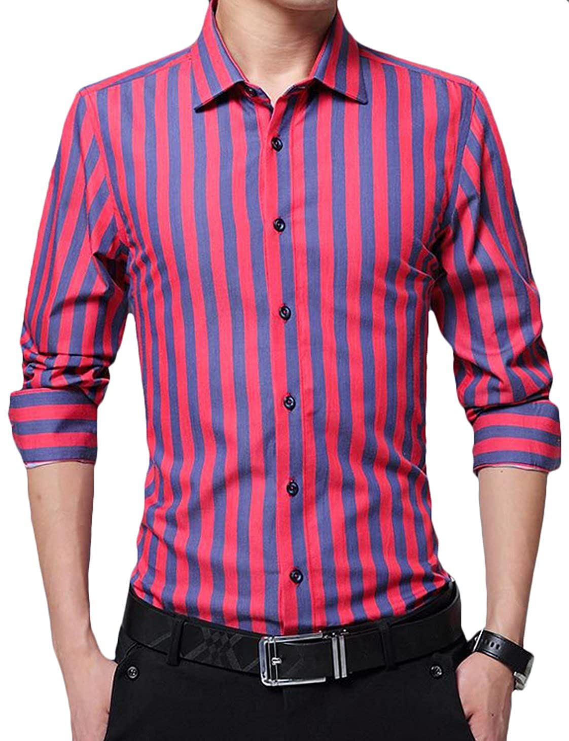 Youhan Mens Long Sleeve Slim Fit Striped Shirt Business Dress Shirt