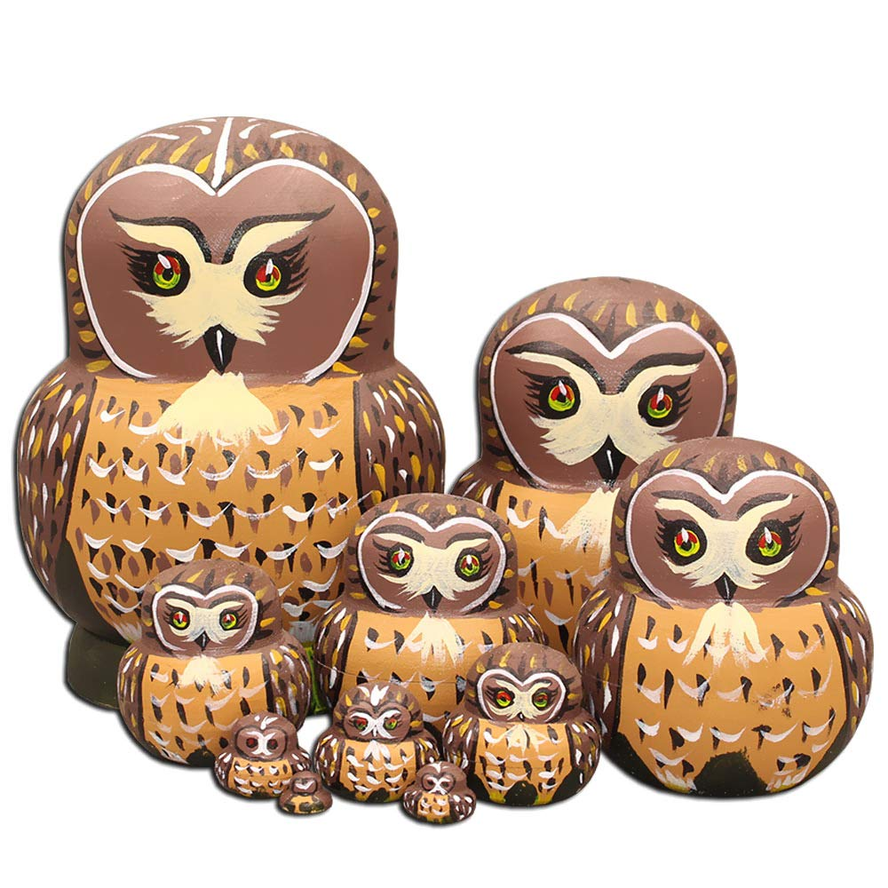 Moonmo 10pcs Cute Vivid Big Belly Shape Brown Owl Handmade Wooden Russian Nesting Dolls Matryoshka Dolls by Moonmo (Image #2)