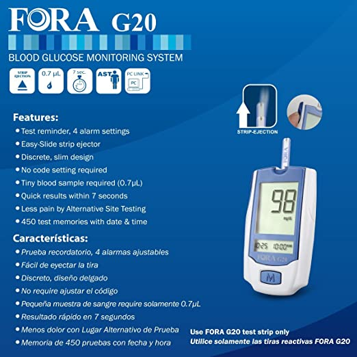 Amazon.com: FORA G20 Blood Glucose Meter for Diabetes and ...
