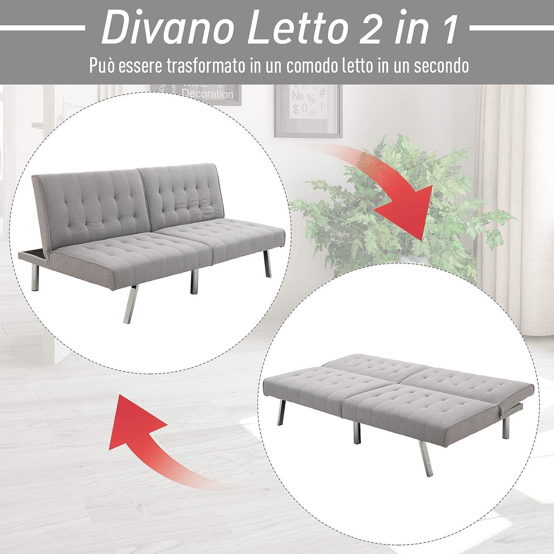 homcom Divano Letto in 3 Posti Schienale Regolabile con Gambe Placcate e Rivestimento in Lino Dimensioni Divano 98P x 181L x 79A cm Grigio