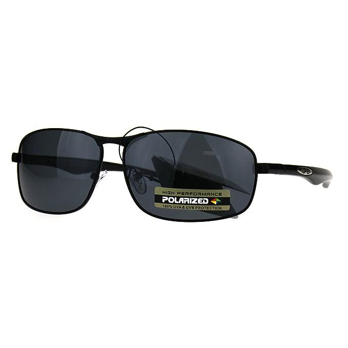 a3342fe512f3 Polarized Xloop Rectangular Metal Rim Warp Sport Mens Sunglasses All Black
