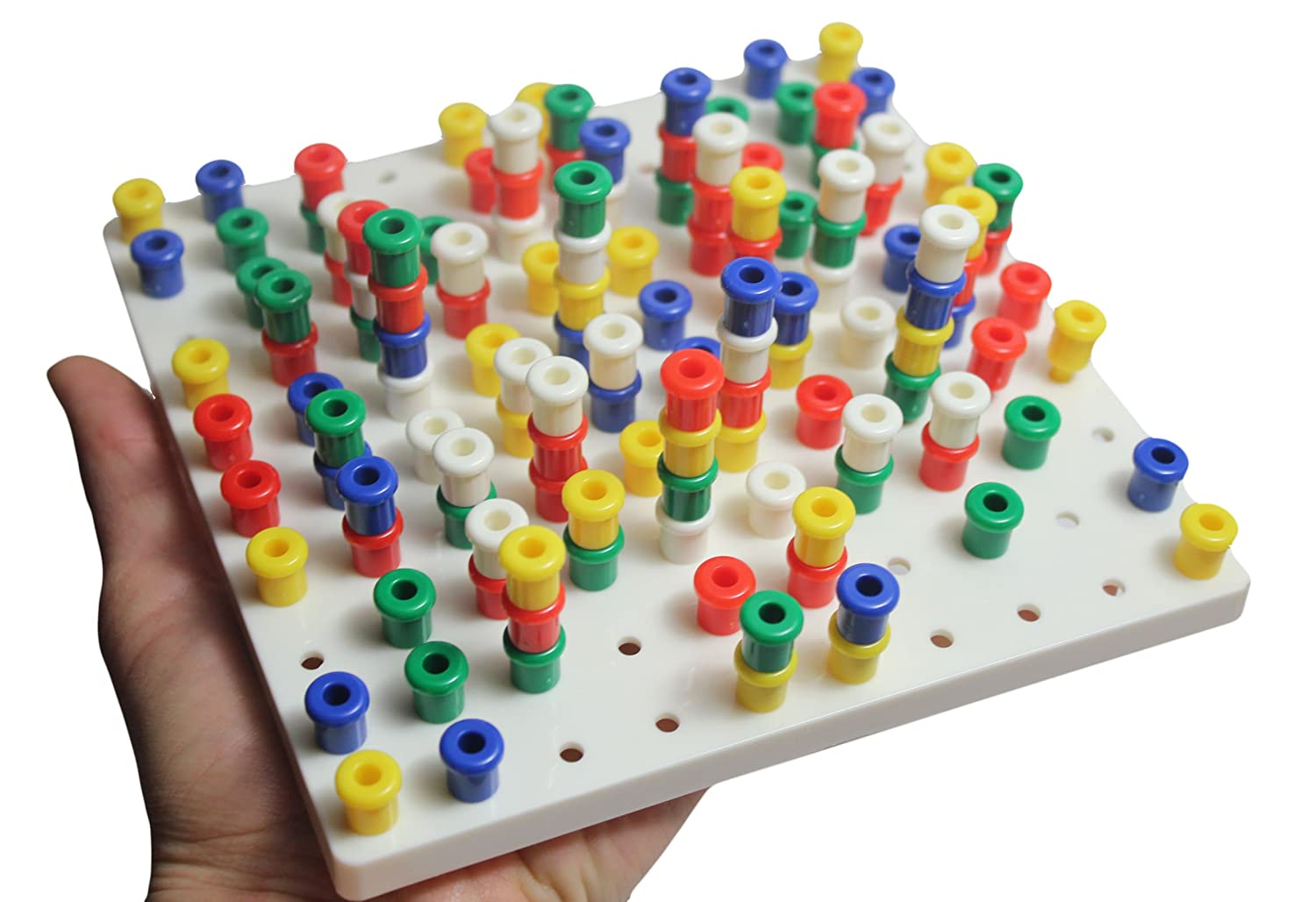 Small White Peg Board toy Fine Motor Toy for Toddlers and Preschoolers Occupational Therapy